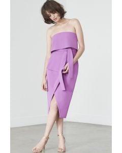 Tie-Front Strapless Dress in Violet